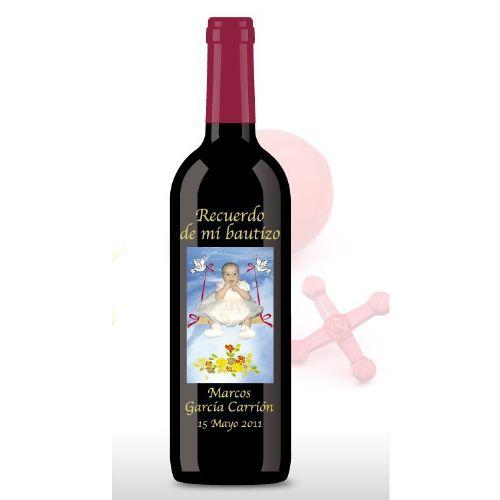 Botellas De Vino Para Regalar En Bautizos.Botella De Vino Con Foto