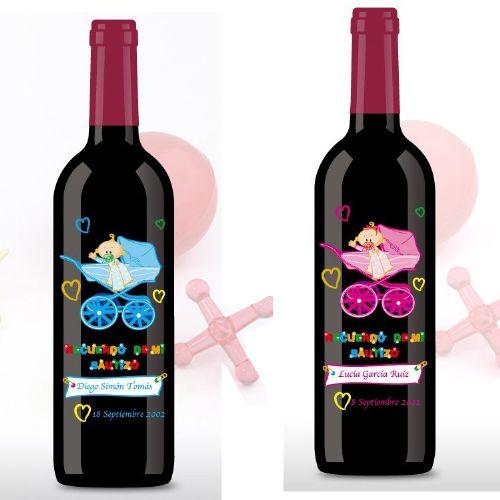 Botellas De Vino Para Regalar En Bautizos.Botella Vino Carrito Bautizo